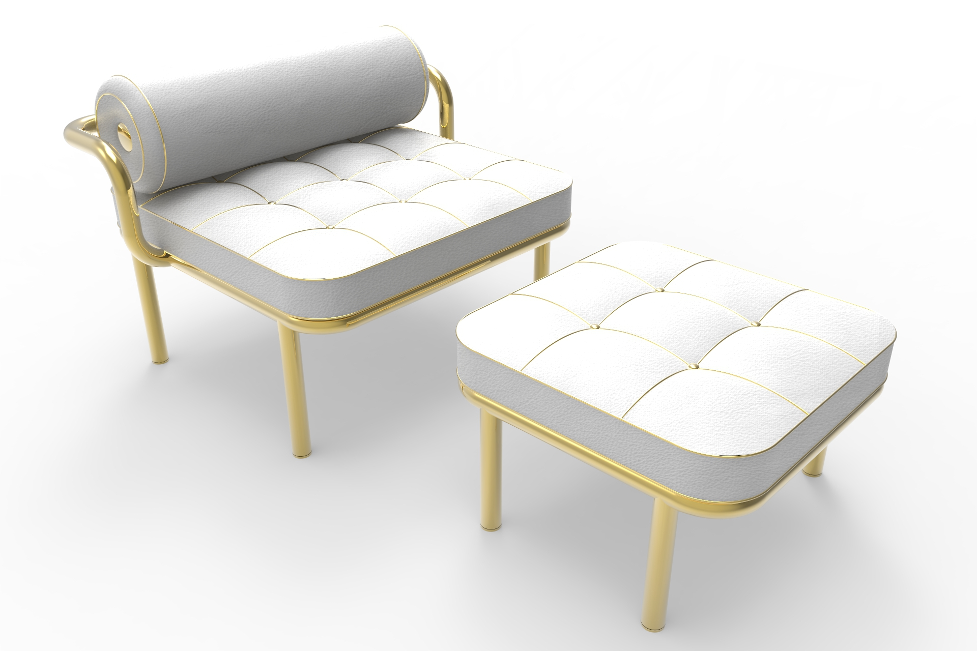 Daniele Toesca Contemporary Armchair and Footstool in Gold 24k