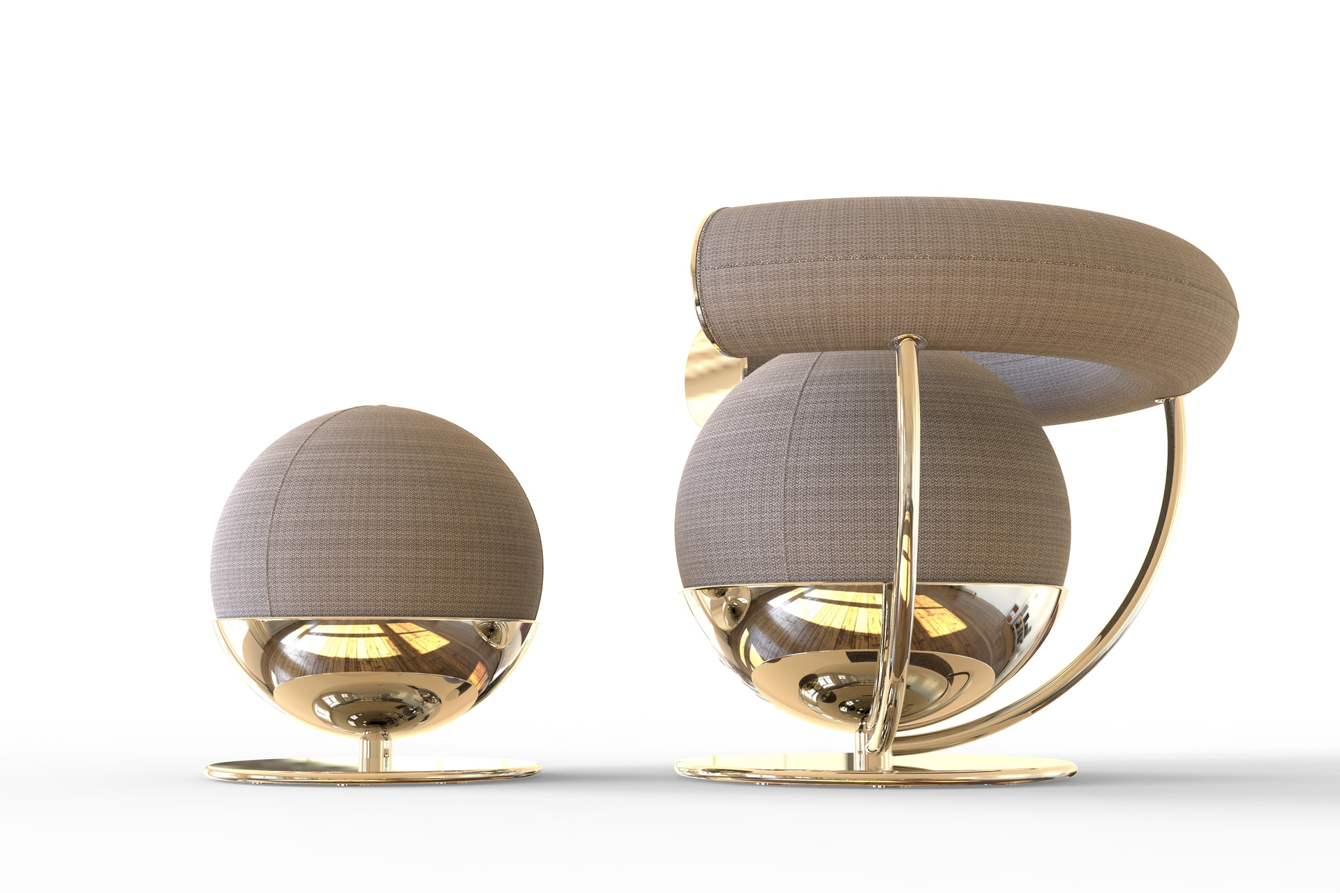 Daniele Toesca: thoughts about the Armchair DT37 & Footstool in Gold 24k